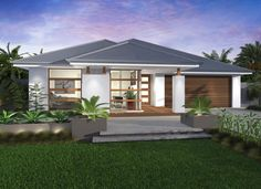 Santorini Manor- Contemporary Facade - Another! Dream House Plans, Modern House Plans, Mcdonald Jones Homes, Front House Landscaping, Modern Bungalow House, House Landscape, Facade House, House Facades, New Home Designs