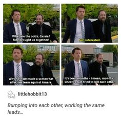 Misha Collins  as  Cas  and Mark  Sheppard  as Crowley  on Supernatural