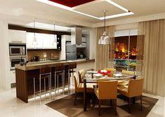 exemplo de sala de jantar integrada com cozinha