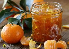 orange mandarin homemade jam marmelade in a glass jar