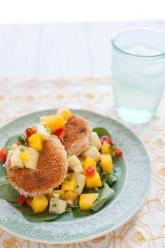 Coconut Shrimp Cakes with Mango Pineapple Salsa | Annie's Eats