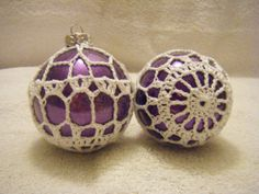 Crochet Covered Glass Christmas Ornament by YarnWizardCrafts, $10.00