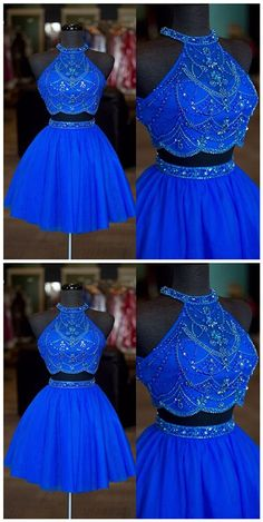Real Photos Halter Neck Beaded Rhinestone Two Pieces Homecoming Dresses Sexy Backless A Line Tulle Short Prom Dresses,Royal Blue Short Cocktail Gowns . Cute Prom Dresses, Sweet 16 Dresses, Trendy Dresses, 15 Dresses, Homecoming Dresses, Formal Dresses, Dress Prom, Sexy Dresses, Beaded Dresses
