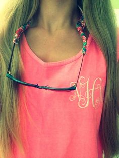 Monogrammed T-shirt & Lilly croakies. @Bud Bender Bender Bender Bender Bender Bender Bender & peanut needs to make these!!!