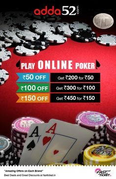 Play your favorite game of Texas Hold'em Poker at @Adda52 with this exciting discount coupon on any movie ticket booking on Fastticket. Let's make the weekend awesome one!