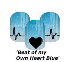 "You make my heart go ""Thump thump"" #blue #ombre #heart #love #nails #nas #heartbeat #sparkle #jamberry #rebeckapearsonjn #valentinesday #valentinenails #nailart"