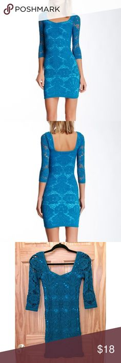 Free People Intimately Lace Medallion Dress Free People blue Lace Medallion bodycon Dress. 3/4 sleeves, Sz M/L. Very comfortable and flattering material, thicker spandex which helps to hide stomach fat/love handles Free People Dresses Mini
