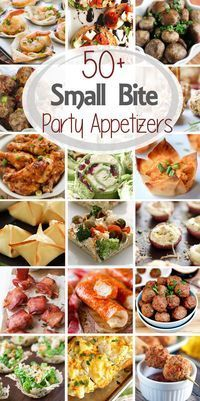 over 50 Small Bite Party Appetizers! Small Bite Party Appetizers ~ Get ready for holiday parties and New Year's Eve! This round up has over 50 recipes from the best blo Finger Food Appetizers, Yummy Appetizers, Finger Foods For Party, Appetizer Ideas, Finger Food Recipes, Party Appetizer Recipes, Appetizers For New Years, Appetizers For Thanksgiving, Birthday Party Appetizers