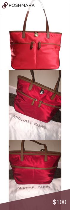 ❤️LIKE NEW AUTH. MICHAEL KORS KEMPTON NYLON BAG❤️ **AMAZING CONDITION, NO DAMAGE/SIGNS OF WEAR, RED W/ SILVER HARD WEAR, AUTHENTIC** Michael Kors Bags Totes
