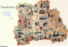 A touristic map of Transylvania. A great piece of work. Probably the most well known region of Romania. And no, we're not going to use the 'D-word'. Comte Dracula, Visit Romania, Transylvania Romania, Tourist Map, Tattoo Project, Family Roots, Old Maps, Map Design, Dark Ages