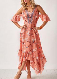 Pastel Orange Asymmetric Hem Printed Cold Shoulder Dress | liligal.com - USD $34.90
