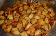 Herb Diced Potatoes - dice up small nugget potatoes into 1/4's  drizzle with olive oil  salt & pepper  tablespoon of rosemary  tablespoon of oregano  sprinkle of paprika  2 garlic cloves diced finely  (any herbs you want to put in)    toss everything together and put on a tinfoil lined pan  bake 40-45 minutes in 400-425 degree oven or until tender in middle and crispy outside