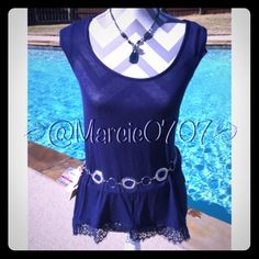 Candies sapphire colored lace top Candies sapphire colored lace top in size extra small. 25Inches long, 18 inch bust 24 inch hips Candies Tops Blouses
