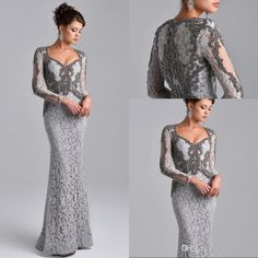 Classy Mother Of The Bride Dresses 2015 Elegant Gray Long Sleeve Lace Mother Of The Bride Dresses Sheath Floor Length Beading Plus Size Mother Formal Gowns Em05552 Dress For Mother Of Bride From Prommuse, $141.37| Dhgate.Com