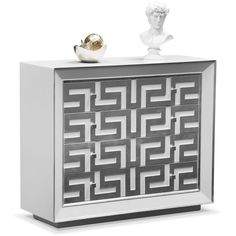 Halston Bachelor Chest Silver ($500) ❤ liked on Polyvore featuring home, home decor, halston, silver home accessories, white home decor and silver home decor