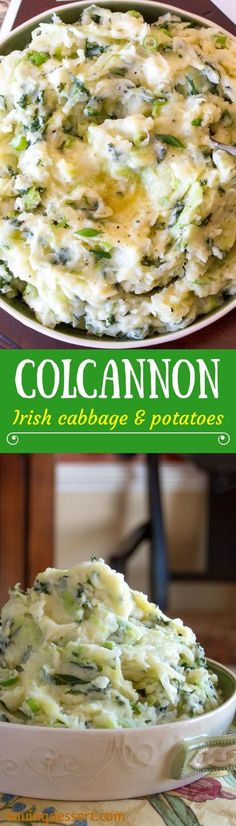 Colcannon ~ a traditional Irish dish made with cabbage, onions and potatoes. Colcannon is easy to make, inexpensive, delicious pure Irish comfort food! Vegetarian Cabbage, Vegetarian Recipes, Cooking Recipes, Healthy Recipes, Vegan Meals, Pescatarian Recipes, Fun Recipes, Diet Meals, Holiday Recipes