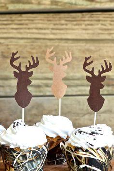 Deer Silhouette Cupcake Toppers  bucks in by thePathLessTraveled