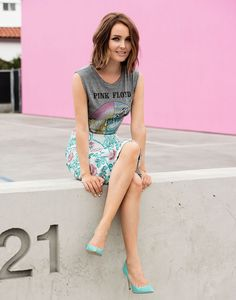 Camilla Luddington looking perfectly rocker in a Pink Floyd tee, floral skirt and bright pumps // Photo by Justin Campbell
