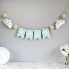 Personalised cloud name bunting baby nursery by PaperAndWool1