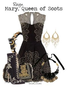 """Mary, Queen of Scots"" by charlizard ❤ liked on Polyvore featuring Dolce&Gabbana, White House Black Market, ORTYS, Roberto Cavalli, Casadei, blackandgold, TV, Reign and ornate"