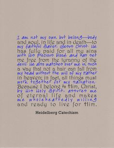 Heidelberg Catechism quote typography print  I am not my own by jenniferdare, $10.00