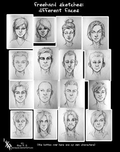 sketches - different face types by oomizuao.deviantart.com on @deviantART