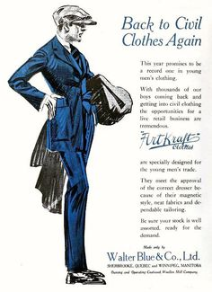 Back to civil clothes again - Art Kraft Clothes ad, January 1919. #vintage #WW1 #menswear #ads