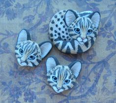 """Cabochons Porcelain """"Kitties"""" by Laura Mears"""