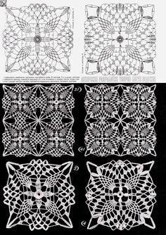 Photo from album Дуплет 172 on Crochet Tablecloth Pattern, Crochet Motif Patterns, Crochet Curtains, Crochet Diagram, Crochet Chart, Crochet Squares, Thread Crochet, Crochet Granny, Filet Crochet