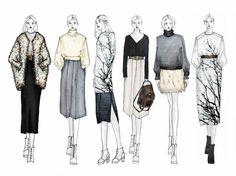 trend and market project - ArtsThread : Fashion Sketchbook - fashion illustrations; line up drawings; Fashion Design Sketchbook, Fashion Design Portfolio, Fashion Illustration Sketches, Illustration Mode, Fashion Design Drawings, Fashion Sketches, Drawing Fashion, Fashion Design Illustrations, Dress Sketches