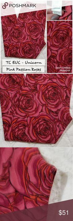 Lularoe Leggings TC - Sketch Roses Pink Passion Beautiful modern looking sketch Roses part of the colorway of this print.  This fabric is a smoother fabric, this shows even less wear than the fluffier brushed material of the vintage prints. No fading or pilling, no stains, holes or defects. Inspected thoroughly for all.  Smoke free household.   Please feel free to ask any questions, bundle for savings or make an offer.   Thank you for shopping my Posh Closet! LuLaRoe Pants Leggings