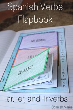 Spanish Interactive Notebook Verbs Flapbook (Regular Present Tense) Give your students an organized, at-a-glance reference section for recording Spanish verbs. Perfect for los verbos ar, er, and ir. Spanish Grammar, Spanish Language Learning, Spanish Teacher, Teaching Spanish, Subjunctive Spanish, Spanish Alphabet, Teaching French, Study Spanish, Study Habits
