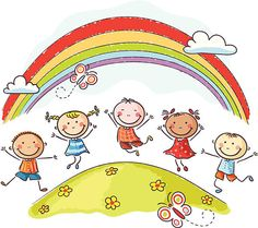 Illustration about Happy kids jumping with joy on a hill underneath a rainbow. Illustration of multinational, childs, drawing - 44631827 Drawing For Kids, Art For Kids, Daycare Logo, School Murals, Cartoon Sketches, Free Vector Art, Happy Kids, Easy Drawings, Clipart