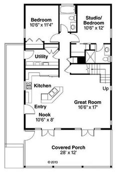 House Plan – Cottage Plan: Square Feet, 2 Bedrooms, 2 Bathrooms – Famous Last Words Bungalow House Plans, Tiny House Plans, House Floor Plans, Small Cabin Plans, Small Cabins, Small House Plans Under 1000 Sq Ft, 30x40 House Plans, Small Floor Plans, Cottage Floor Plans
