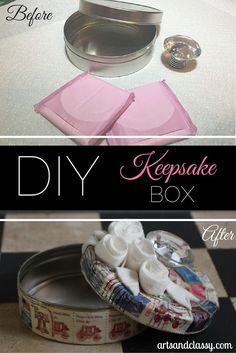 DIY Tutorial Keepsake Box - Before and After. Check out how this box was made. It was super easy and I love how it came out + it cost me absolutely nothing to make. Who doesn't like a Free DIY project?  via www.artsandclassy.com