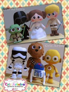 Kit Star Wars, com 8 personagens, confeccionados em feltro. Star Wars Christmas Ornaments, Felt Ornaments, Quick Crafts, Diy And Crafts, Crafts For Kids, Felt Dolls, Doll Toys, Natal Star Wars, Aniversario Star Wars