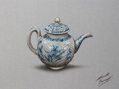 Watch on YouTube how I draw this porcelain teapot http://youtu.be/ErmSX55caok (HD video)