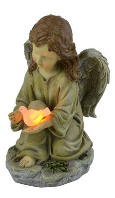 Moonrays 91338 Solar Powered Angel with Glowing Dove Statue LED Light ** For more information, visit image link.