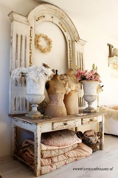 chic decor, architectural salvage, vignett, corsets, decorating ideas, arches, vintage vanity, display, console tables