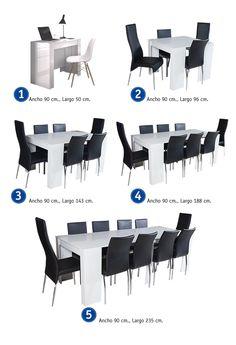 Comprar mesas comedor - Mesa consola CONVERTIBLE en color blanco brillo, con 5 posiciones