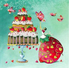 A paper napkin for decoupage of a cute fairy and her strawberry cake. Great for your decoupage projects.