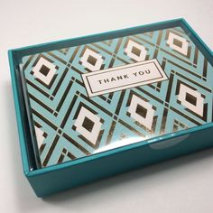 CLEMENTINE BOXED SET OF 16 BLANK GOLD FOIL THANK YOU GEOMETRIC NOTE CARDS.NIB #CLEMENTINE #ThankYou
