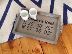 GPS Coordinates Wooden Tray  nautical tray with by Seagate8Studio
