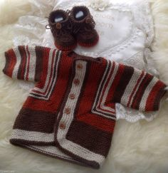 Hand Knitted Baby Clothes - Boys Cardigan & Crocheted Fringe Boots 6-9 Months