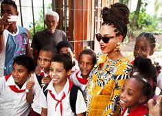#Beyonce and  some school children in Cuba #Queenbey