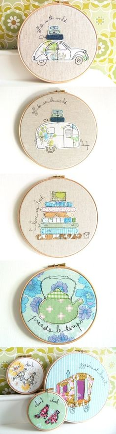 Sweet and fresh free motion embroidery designs - lovely work! Freehand Machine Embroidery, Free Motion Embroidery, Free Machine Embroidery, Embroidery Hoop Art, Cross Stitch Embroidery, Embroidery Patterns, Creative Embroidery, Vintage Embroidery, Fabric Art