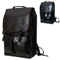 Mens Laptop Backpacks Faux Leather School Bag Hiking Rucksack Black Brown CB-297