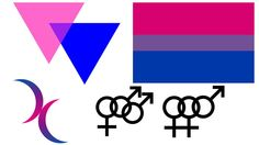"Bisexuality: A person who is attracted romantically, physically, or emotionally to both men and women. Bisexuality triangles (top left): Sometimes called ""biangles,"" pink and blue triangles. Bisexuality pride flag (top right) 40% pink, 40% blue and 20% purple. Bisexuality crescent moons (bottom left): The double moon avoids using the triangles from Nazi concentration camps. Interlocking male and female gender symbols (bottom right)"