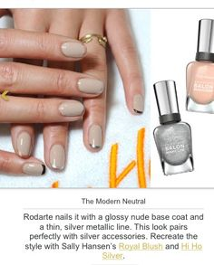 Modern day neutral & silver French manicure