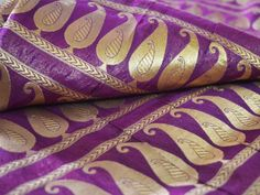 Banaras  Silk Fabric Brocade Fabric Egg Plant brocade